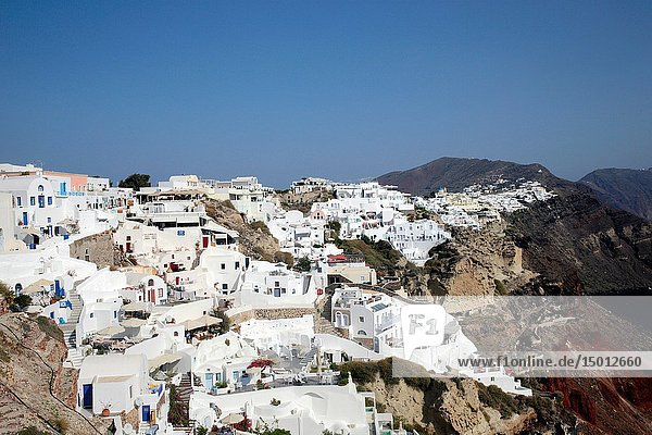 Houses in Oia  Santorin  Greece  Europe.