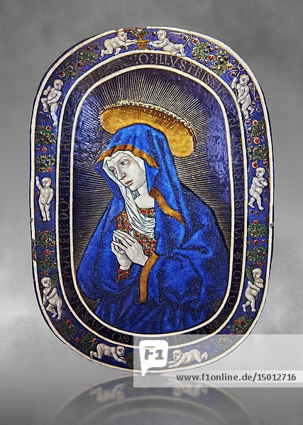 Enamelled plaque of Louis 12th known as the Sorrowful Virgin made in Limoge around 1500. inv 11170  The Louvre Museum  Paris.