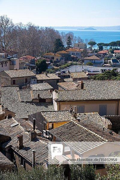 View of Bolsena town  near Bolsena lake  in Lazio  Italy.