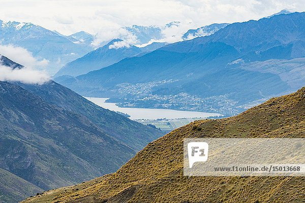 View of Queenstown  South Island  New Zealand.