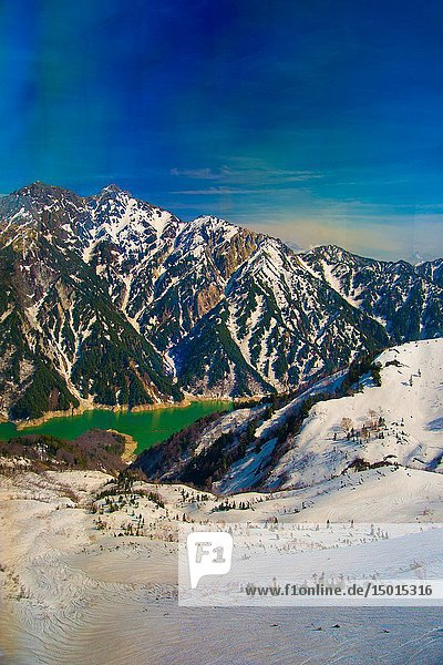 Tateyama mountains in Toyama  Japan. Toyama is one of the important cities in Japan for cultures and business markets.