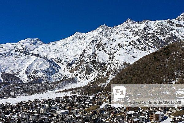 Saas-Fee with the peak Alphubel and the Mischabel massif  Valais  Switzerland.