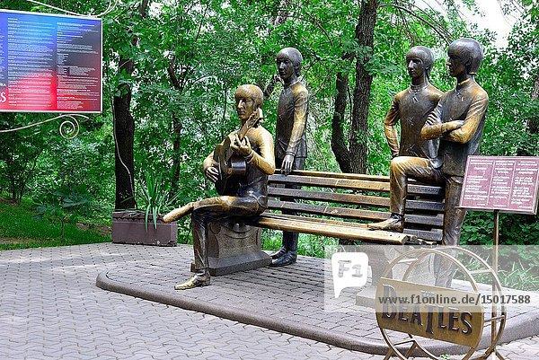 Sculpture of the Beattles in Kok-Tobe hill  Almaty  Kazakhstan.