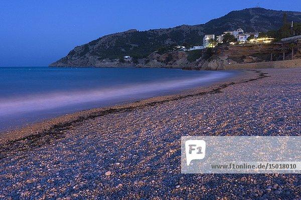 Albir beach by night in Alfaz del Pi Alicante province Spain.