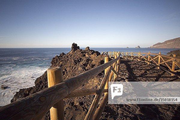 Wavy ocean in Pozo Los Sargos coast of La Frontera El Hierro island Canary islands Spain.