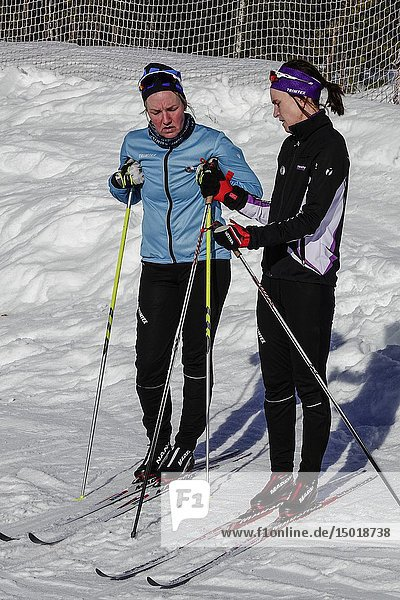Orsa  Dalarna province  Sweden A pair of women cross country skiers at the Orsa ski resort taking a break.