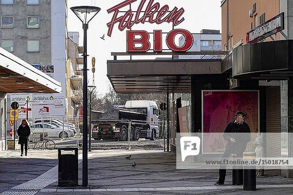 Stockholm  Sweden A man outside a retro and old cinema in Jakobsberg.