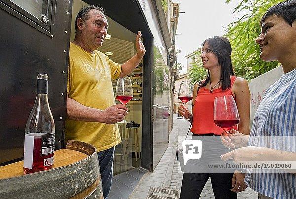 Vinoteca  shop wine  in Tudela. Navarre. Spain.