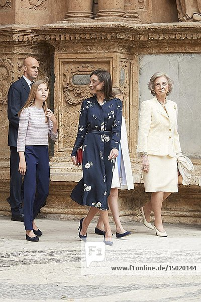 Queen Letizia of Spain  Crown Princess Leonor  Princess Sofia  Queen Sofia of Spain leave Cathedral of Palma de Mallorca after the Easter Mass on April 21  2019 in Palma  Spain