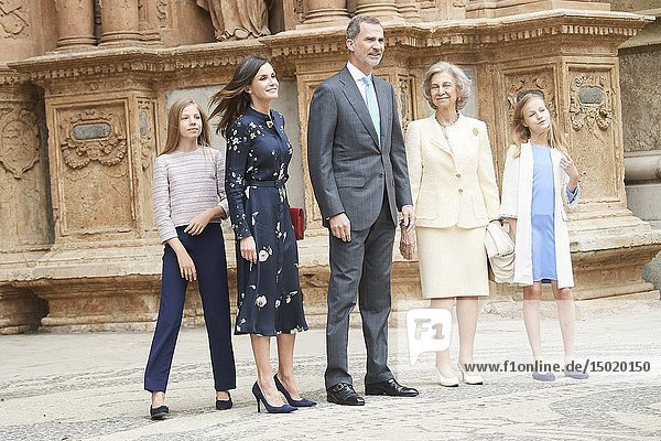 King Felipe VI of Spain  Queen Letizia of Spain  Crown Princess Leonor  Princess Sofia  Queen Sofia of Spain leave Cathedral of Palma de Mallorca after the Easter Mass on April 21  2019 in Palma  Spain
