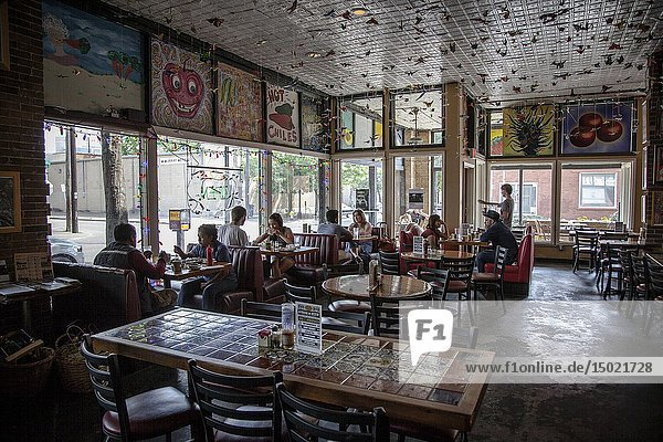 North America Texas USA United States America Dallas Coffee shop Deep Ellum District shop cafe.