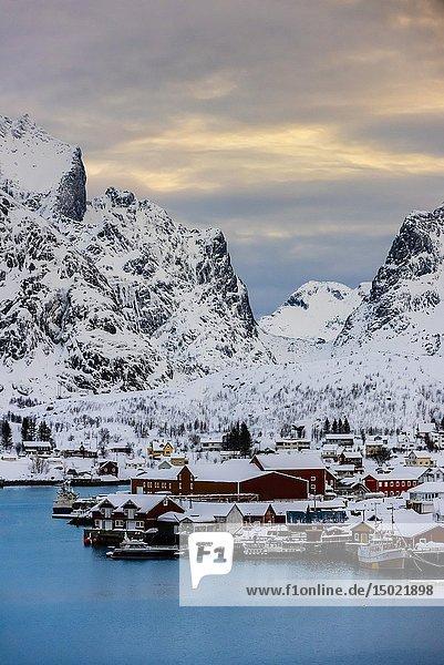 The fishing village of Reine  on Moskenseoya Island in the Lofoten Islands  Arctic  Northern Norway.