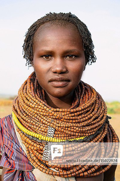 Portrait of a traditional Nyangatom woman in southern Ethiopia.