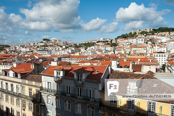 Lisbon  Portugal  Europe - An elevated view of the historic city district Baixa with the Castelo de Sao Jorge in the backdrop.