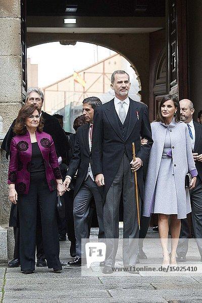 King Felipe VI of Spain  Queen Letizia of Spain attends 'Cervantes Award' to Ida Vitale at Alcala de Henares University on April 23  2019 in Alcala de Henares  Spain