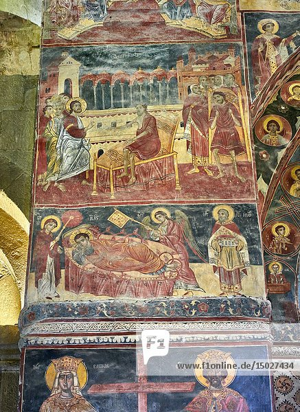 Pictures & images of the interior medieval frescoes depicting the Asumption of the Virgin. The Eastern Orthodox Georgian Svetitskhoveli Cathedral (Cathedral of the Living Pillar)   Mtskheta  Georgia (country). A UNESCO World Heritage Site.