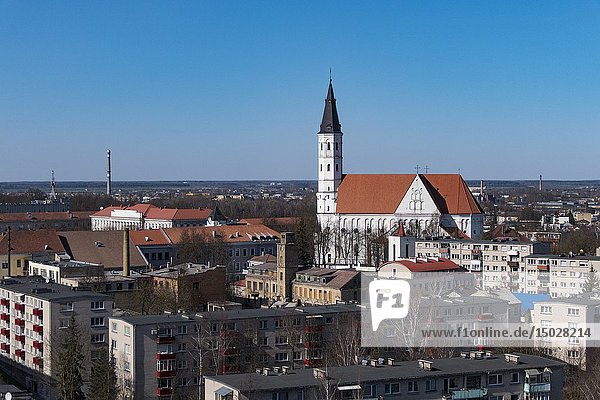 Siauliai  Lithuania Cathedral of Saints Peter and Paul and skyline.