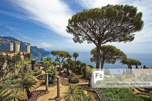 View from garden of Villa Rufolo  Ravello  Amalfi Coast  province of Salerno  Campania  Italy  Europe.