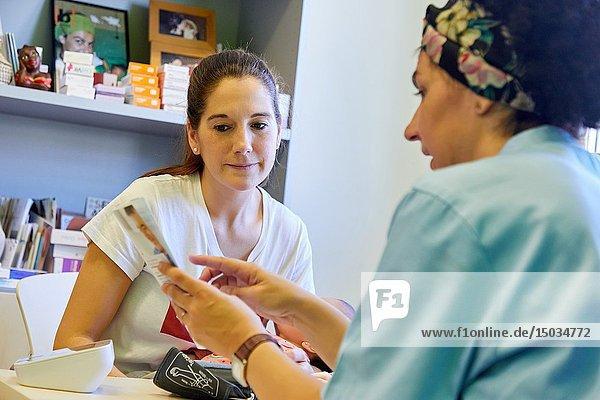 Consultation of Matron with mother and baby  Health Center  Zarautz  Gipuzkoa  Basque Country  Spain