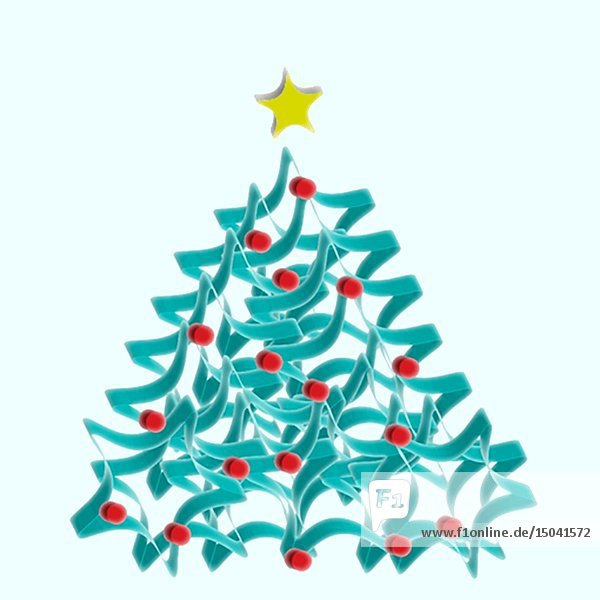 Christmas Tree with Blinking Yellow Star against White Background Animation