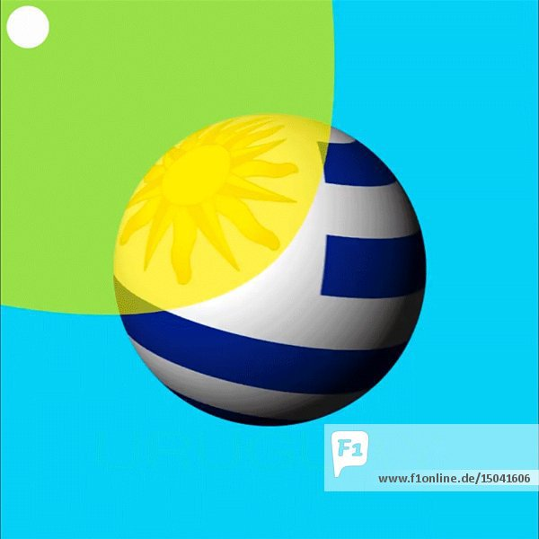 Spinning Globe with Uruguay Flag and Illuminating Sun against Blue Background Animation