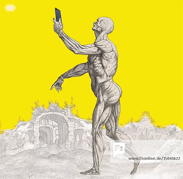Dancing Male Figure with iPhone against Yellow Background Animation