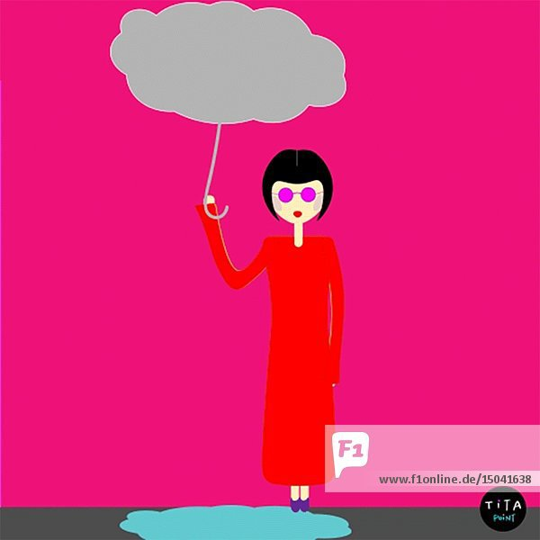 Rain Falling on Woman from Cloud Umbrella that she is Holding Animation