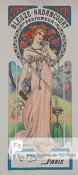 Bleuze - Hadancourt Parfumeur  ca 1899. Creator: Mucha  Alfons Marie (1860-1939).