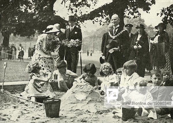'Her Majesty ...  at the New Playground on the Site of the Old Foundling Hospital'  1936  1937. Creator: Unknown.
