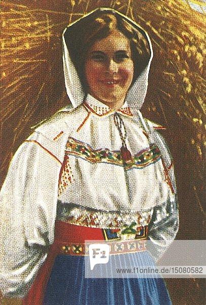 Swedish woman in traditional costume  c1928. Creator: Unknown.