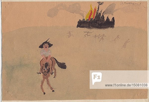 Girl on horse fleeing flaming fort  c1941. Creator: Shirley Markham.