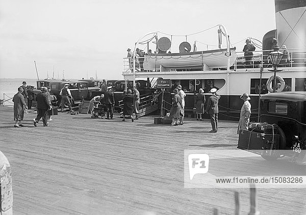 Passengers embarking on Southampton ferry. Creator: Kirk & Sons of Cowes.