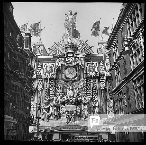 Selfridges  Oxford Street  London  decorated to mark the coronation of King George VI  1937. Creator: Edward Charles Le Grice.
