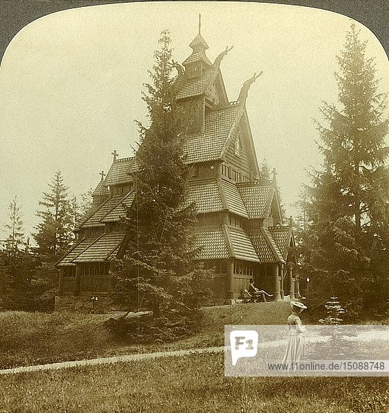 'The old Church of Gol  a quaint 12th cent. Building at Osoarshal  Norway'  c1905. Creator: Unknown.