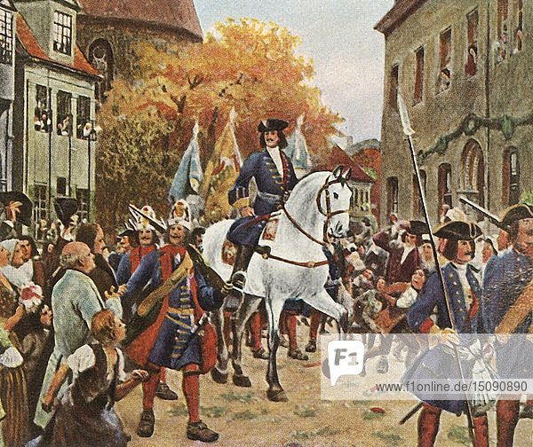 Entry of Prince Leopold I into Dessau after the War of the Spanish Succession  1712  (1936). Creator: Unknown.