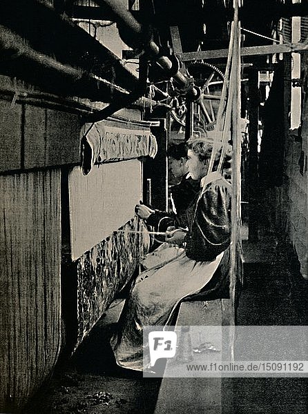 'Hammersmith Carpet Weaving at Merton Abbey Works'  . Creator: Unknown.