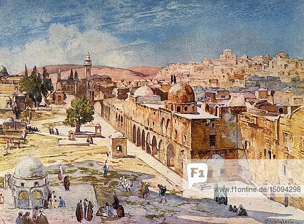 'West Side of Temple Area from Barracks Near the Site of the Tower of Antonia'  1902. Creator: John Fulleylove.