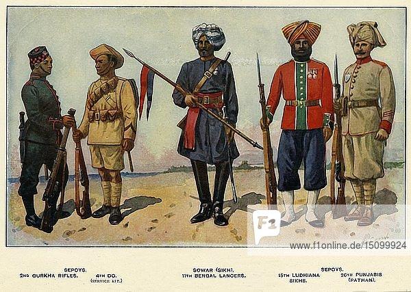'Types of the Indian Army'  1919. Creator: Richard Simkin.