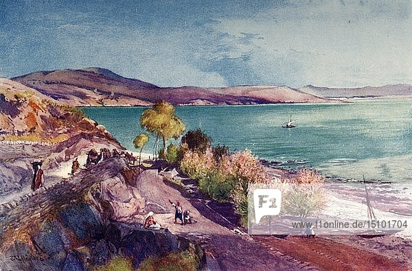'The Lake of Galilee  Looking North from Tiberias'  1902. Creator: John Fulleylove.