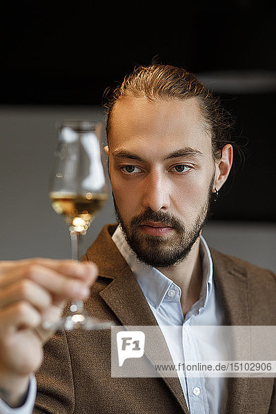 Young man examining glass of wine