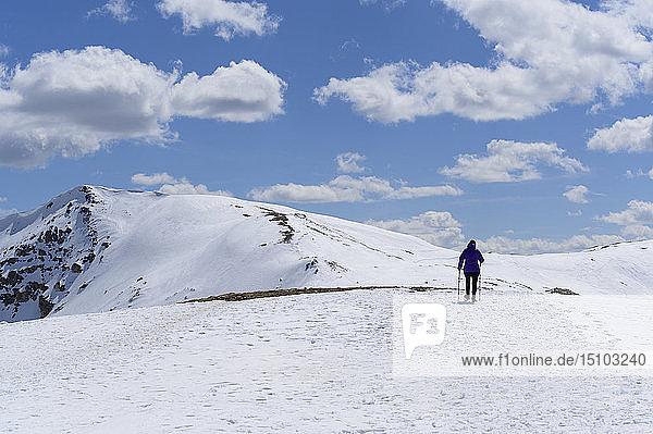 Woman hiking on Loveland Pass in Colorado  USA