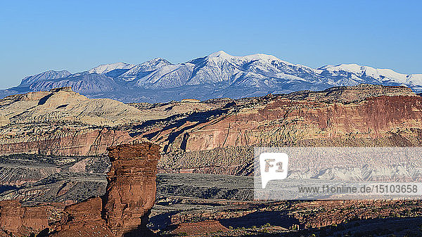 Rock formations and mountain landscape in Capitol Reef National Park  USA