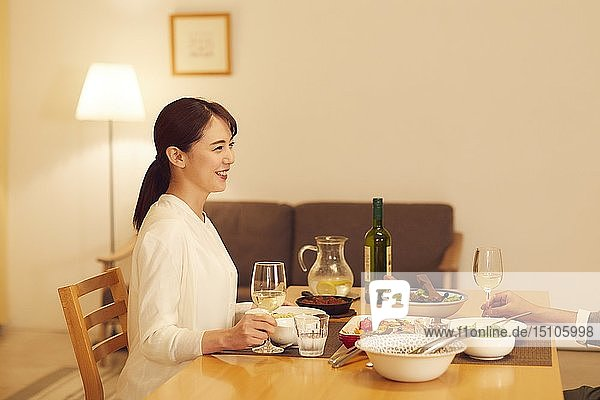 Japanese couple at home