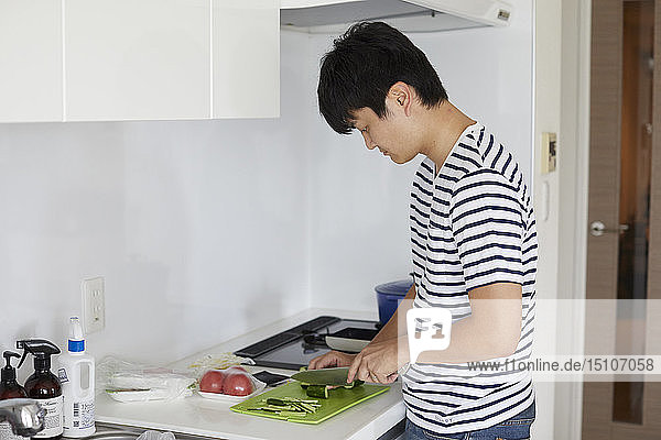Japanese man at home