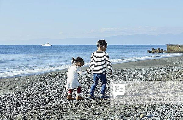 Japanese kids at the beach
