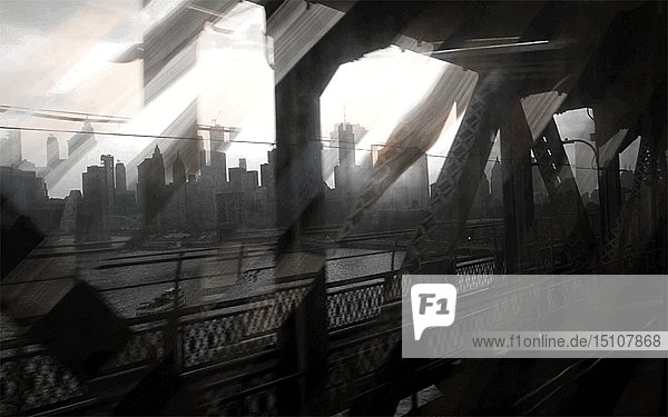 Abstract View of Downtown Manhattan from Manhattan Bridge at Sunset  New York City  New York  USA