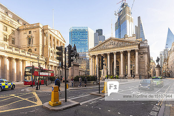 UK  London  Royal stock exchange with London Troops War Memorial and the Shard in the background