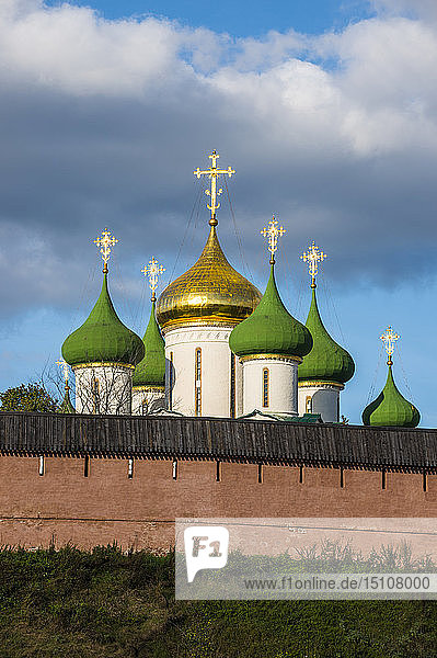 Colourful onion domes shining over the kremlin  Suzdal  Golden ring  Russia