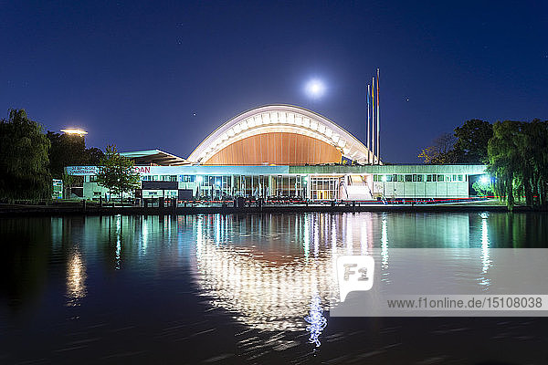 Germany  Berlin  lighted Haus der Kulturen der Welt at night