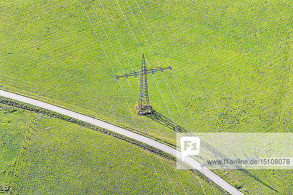 Germany  Baden-Wuerrttemberg  Lake Constance  Markdorf  transmission line on field  aerial view